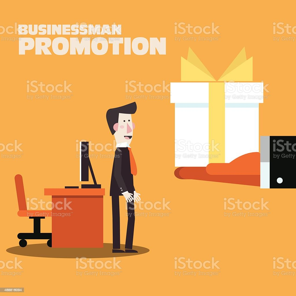 Businessman promotion. Boss giving a reward for employee. Bonus concept vector art illustration