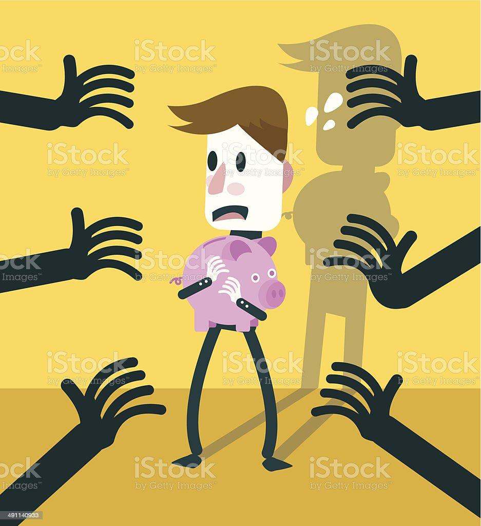 Businessman protect piggy bank form dark hands. vector art illustration