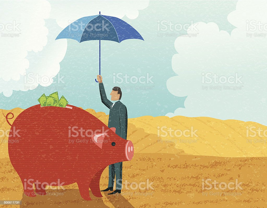 Businessman Protecting His Investment vector art illustration