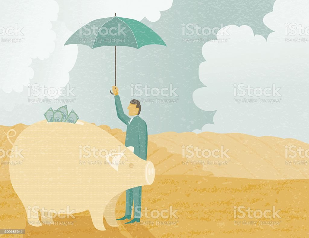 Businessman Protecting His Investment royalty-free stock vector art