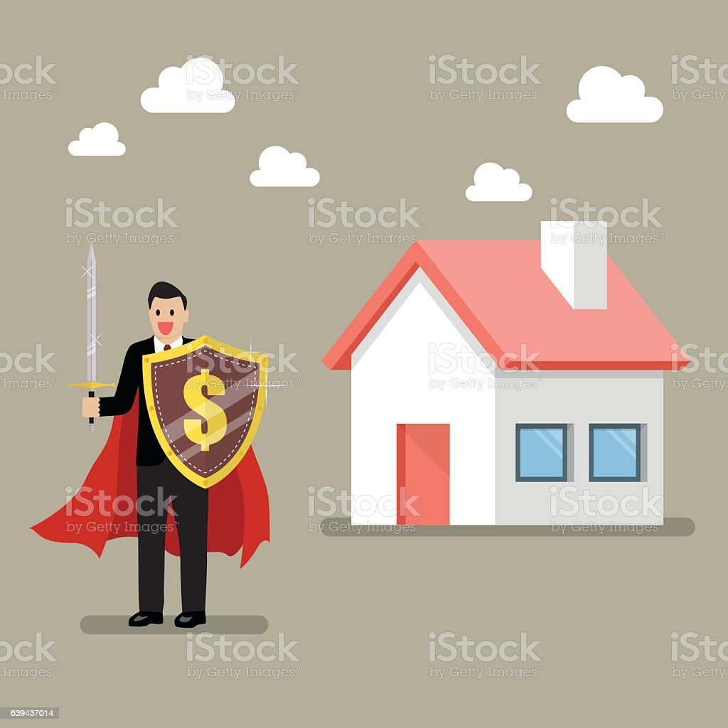 Businessman protecting house with shield and sword vector art illustration