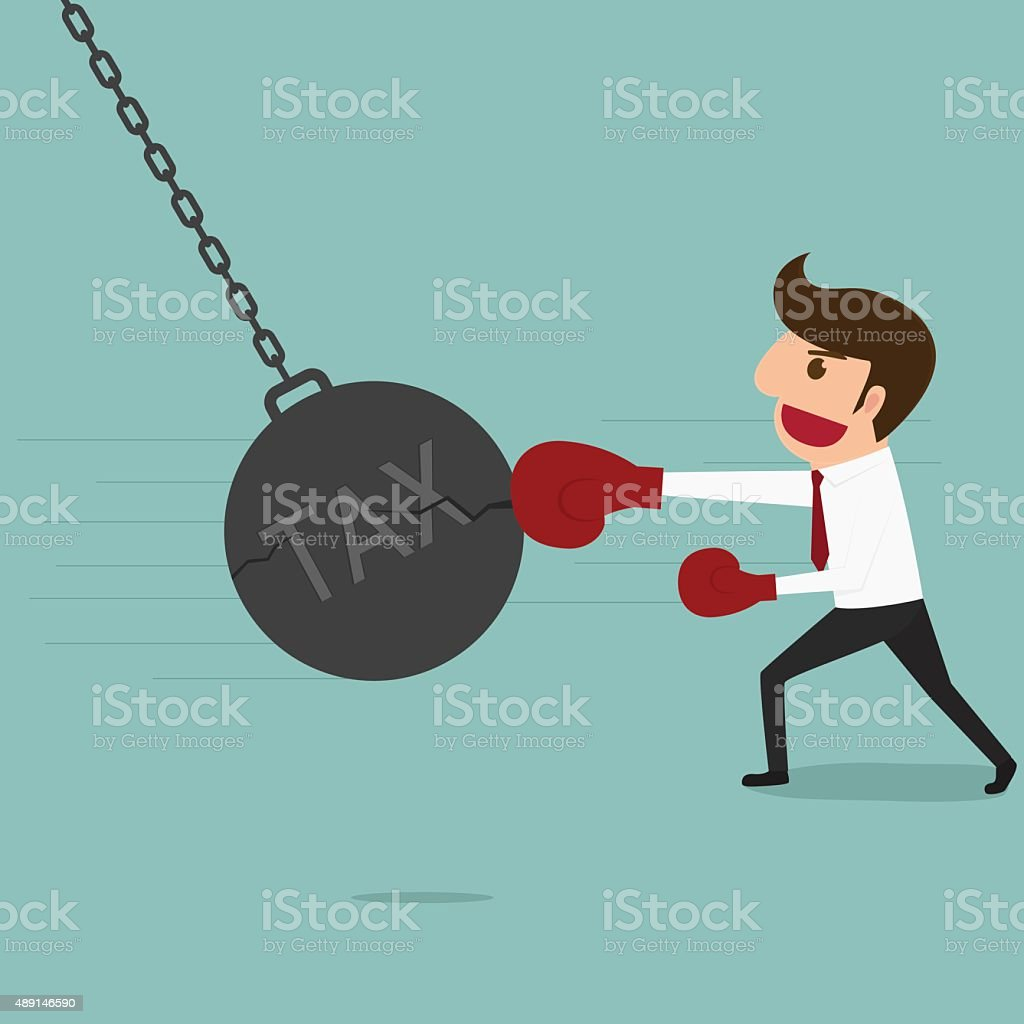 Businessman punch big pendulum tax. vector art illustration