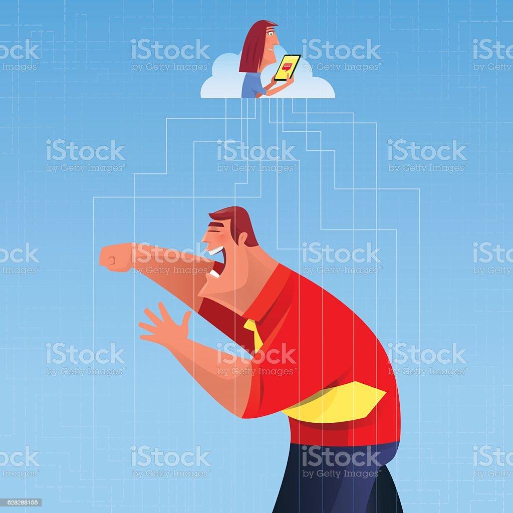 businessman punching vector art illustration