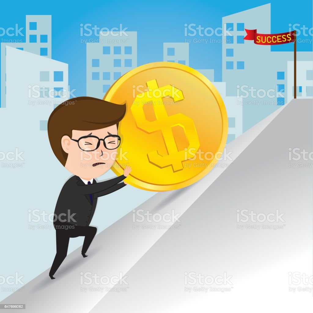 Businessman pushing a gold coins uphill vector art illustration