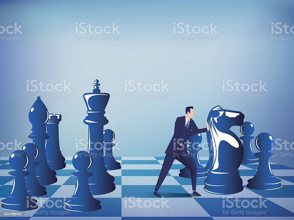 Businessman pushing Chess Pieces vector art illustration