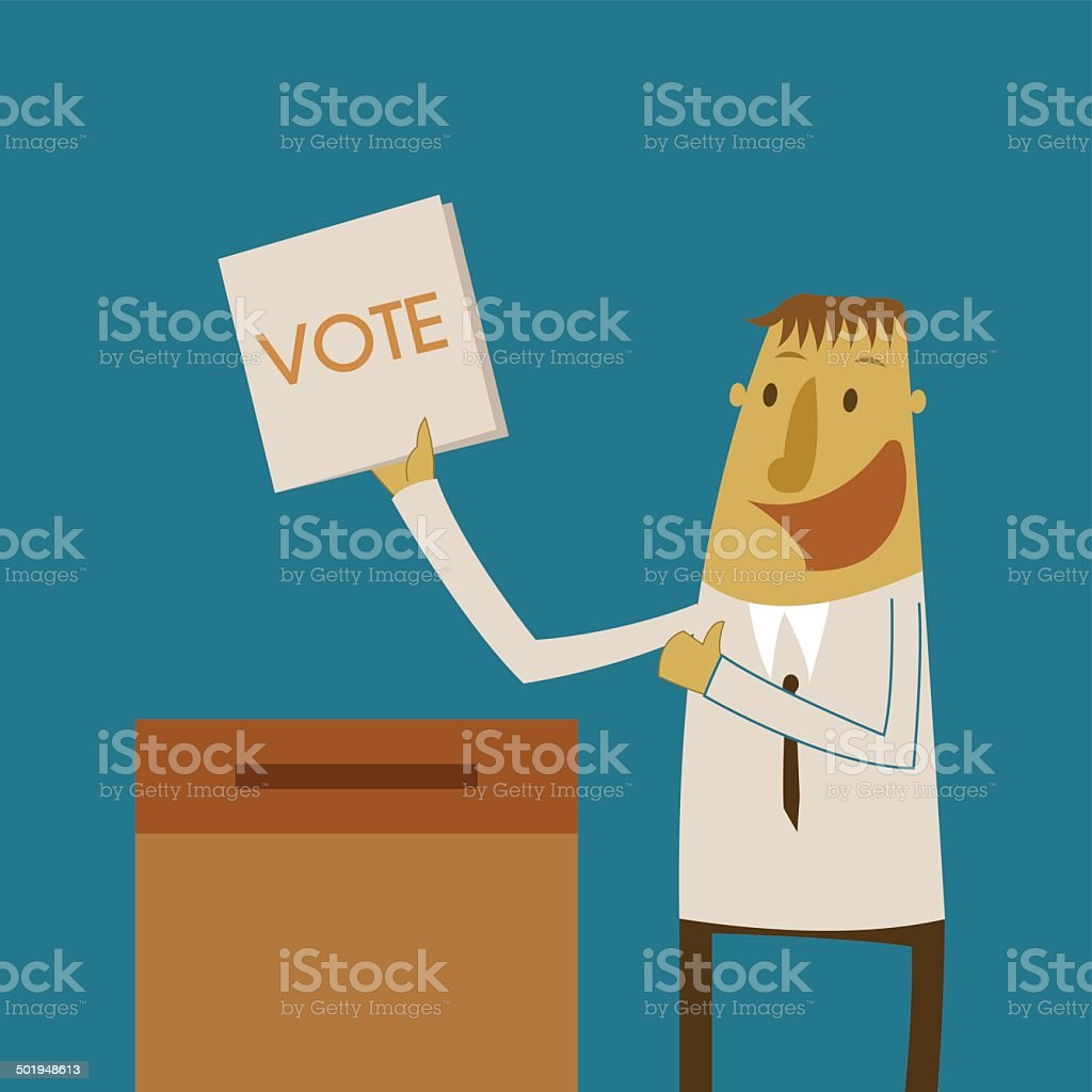 Businessman put a vote ballot into the box vector art illustration