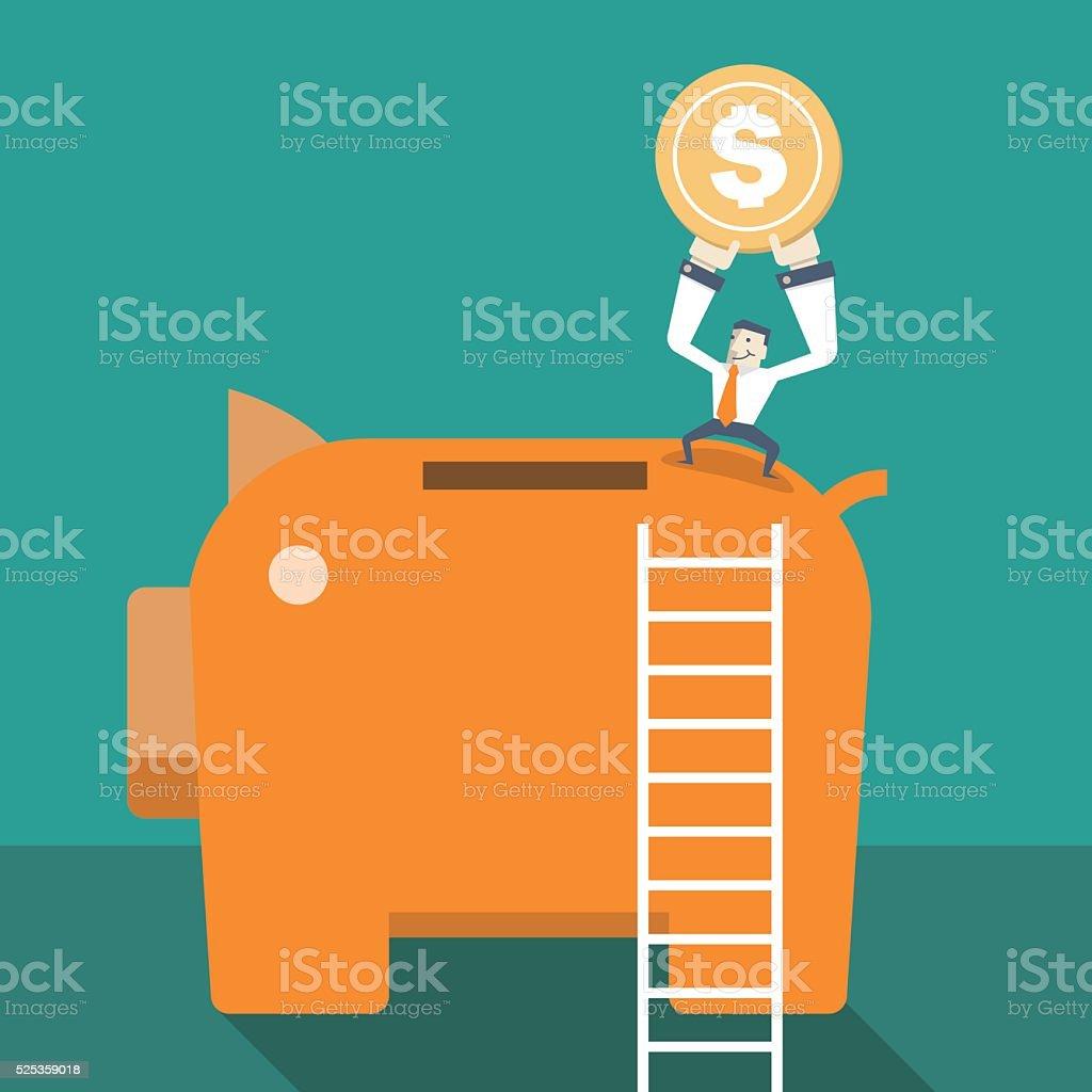 Businessman put penny on Piggy Bank vector art illustration