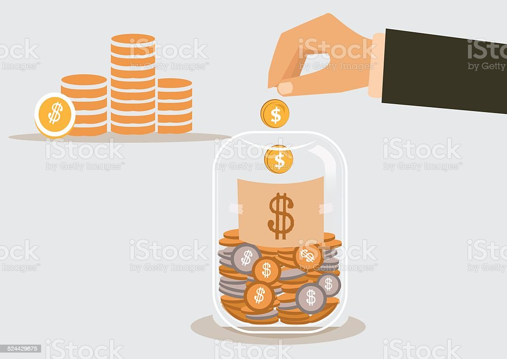 businessman putting a dollar coin into glass bottle vector art illustration