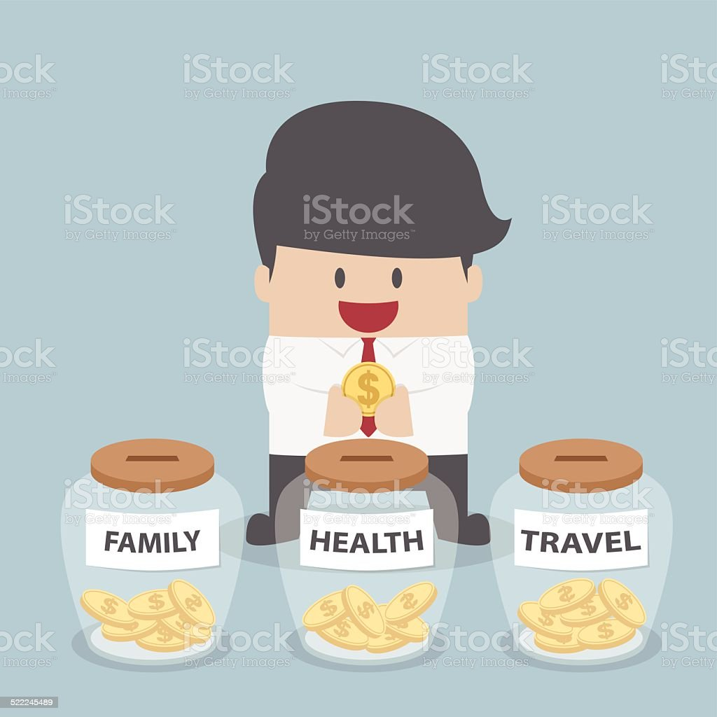Businessman putting coin into Family, Health, Travel bottle, Financial concept vector art illustration