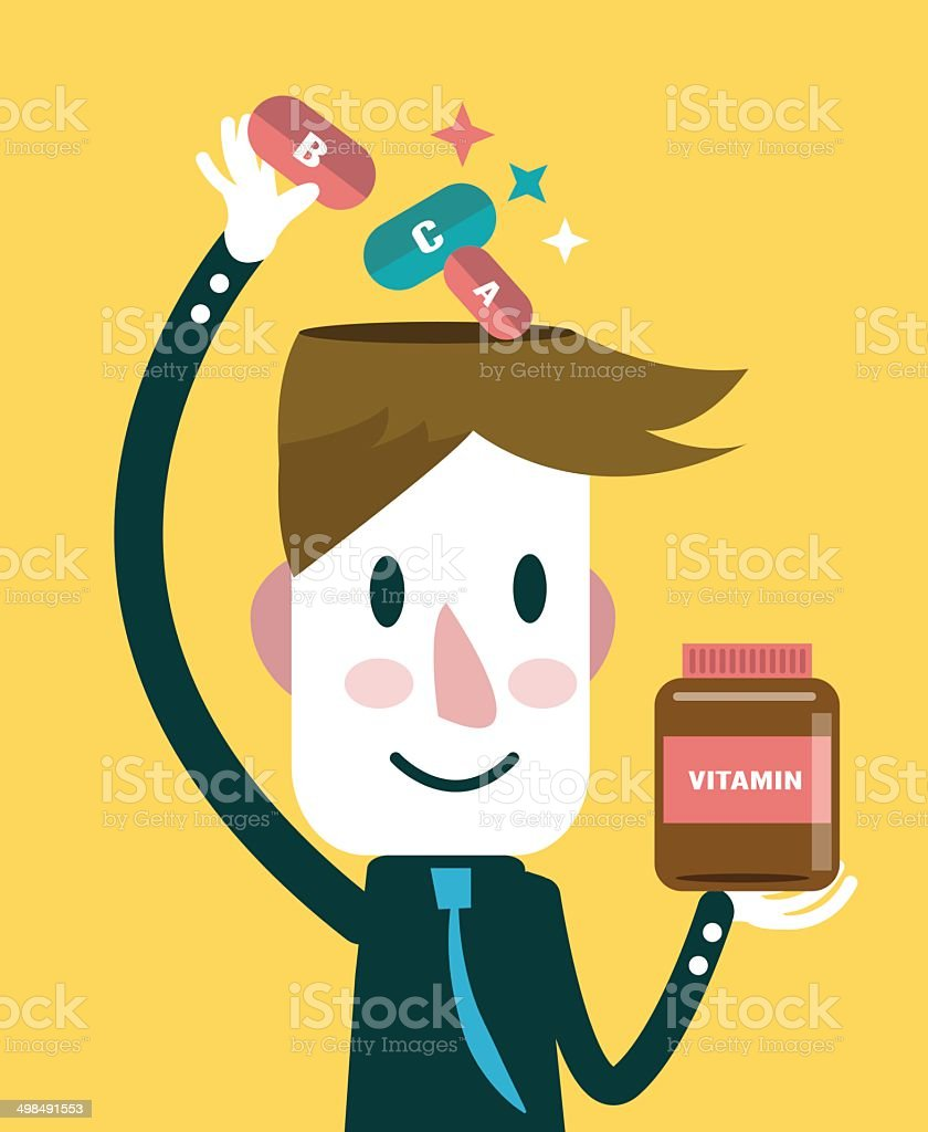 Businessman putting vitamins in his head. royalty-free stock vector art