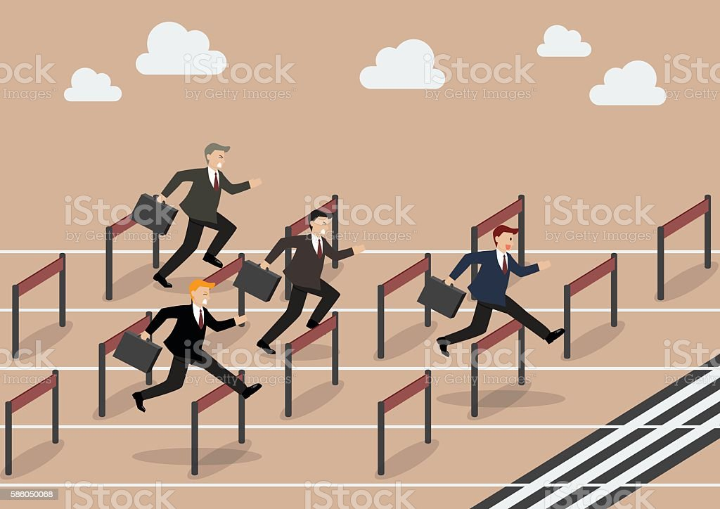 Businessman race hurdle competition vector art illustration