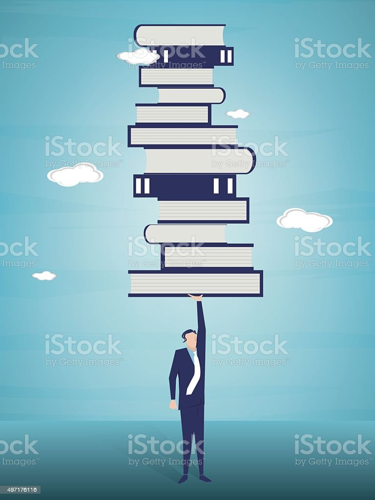 Businessman raiseing stack of books vector art illustration