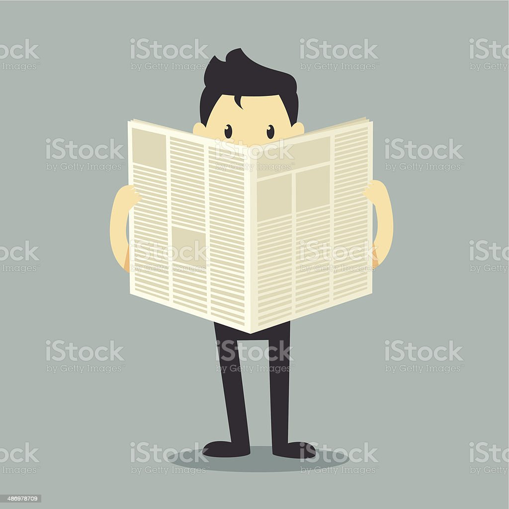 businessman reading a newspaper royalty-free stock vector art