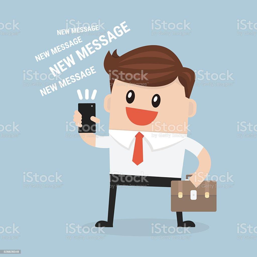 businessman reading a text message vector art illustration