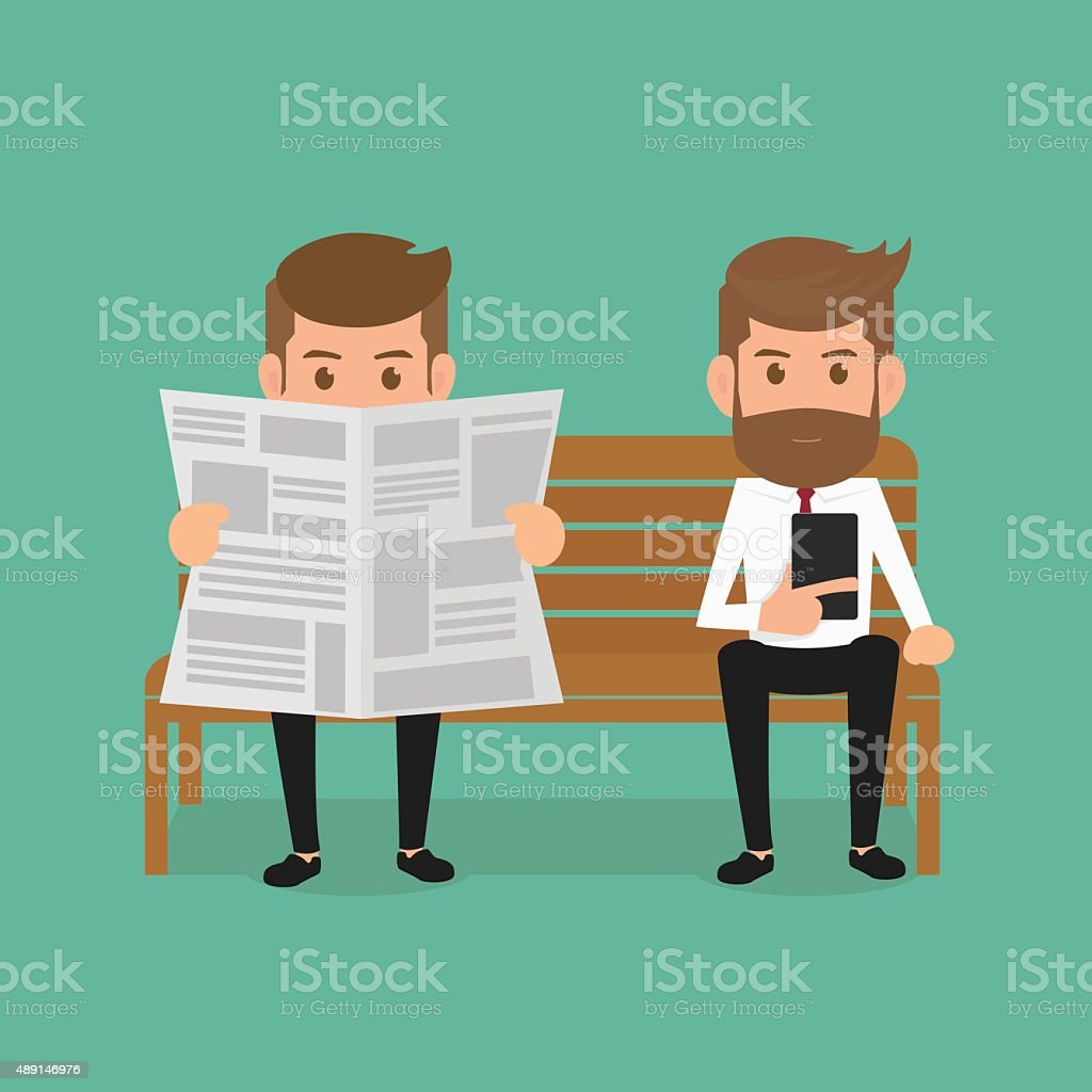 Businessman reading newspaper and using smartphone. vector art illustration