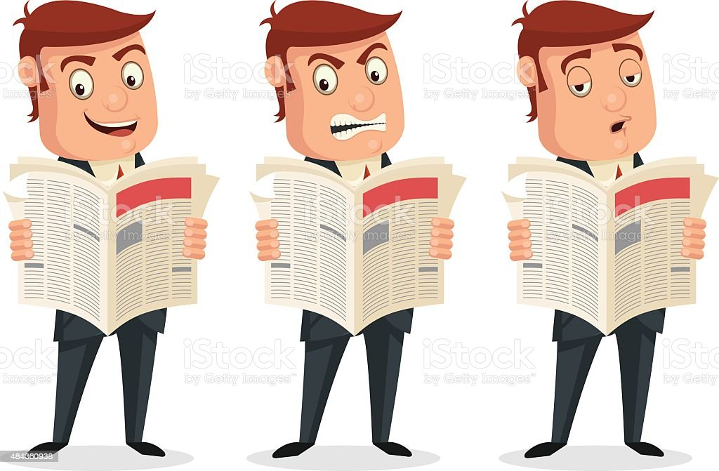Businessman reading newspaper with different emotions. Vector flat cartoon illustration vector art illustration