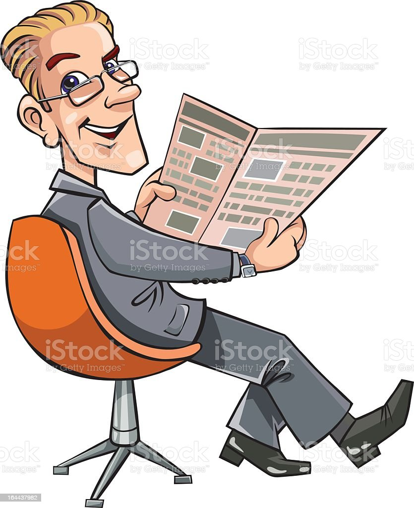 Businessman reading the newspaper royalty-free stock vector art