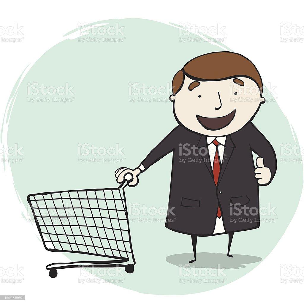Businessman Ready to Shopping vector art illustration