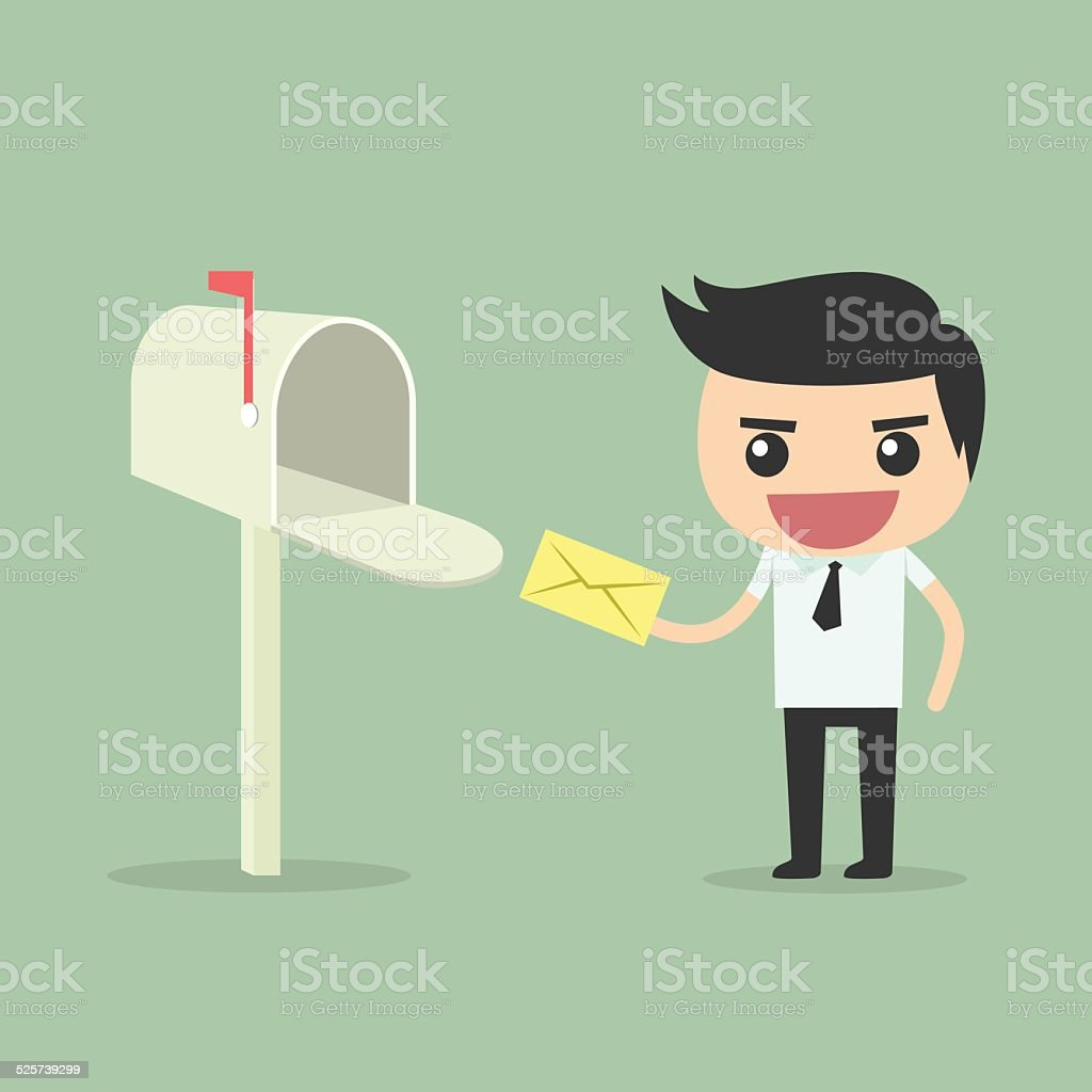 Businessman receive and send mail at mailbox. vector art illustration