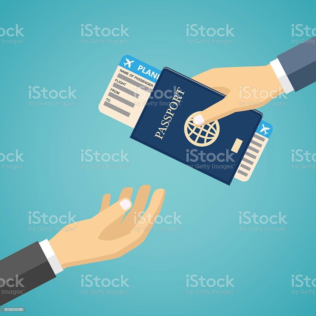 Businessman Receiving Boarding Pass and Passport. vector art illustration