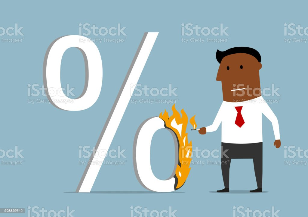 Businessman reducing the loan percent vector art illustration