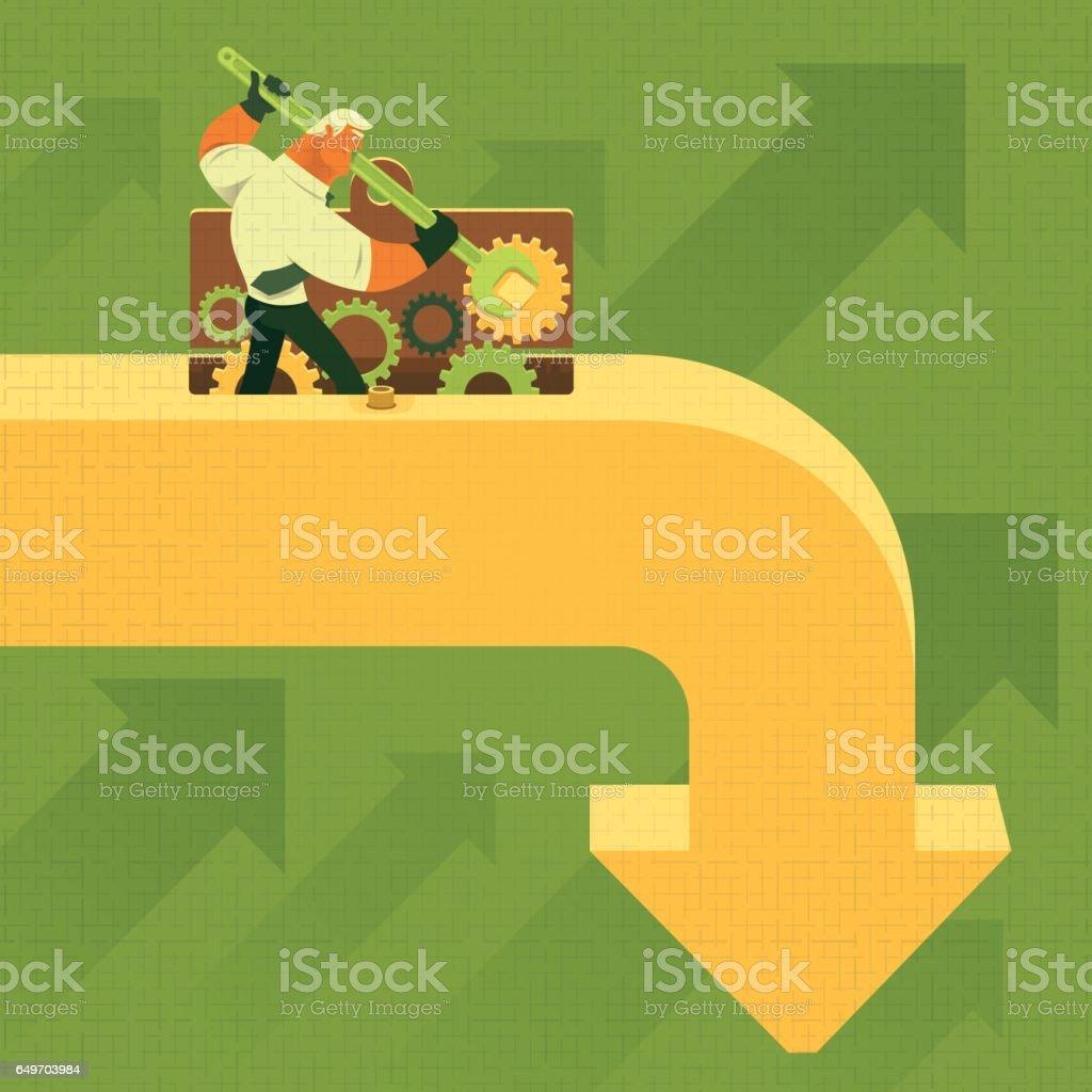 businessman repairing falling arrow vector art illustration