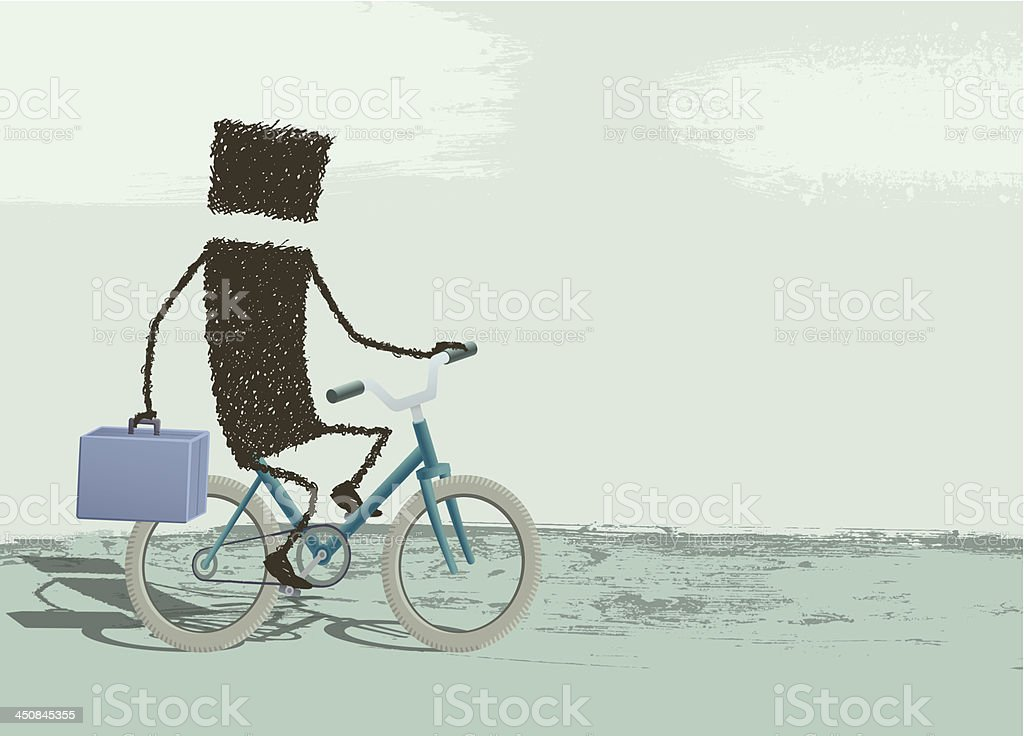 Businessman riding a bike royalty-free stock vector art