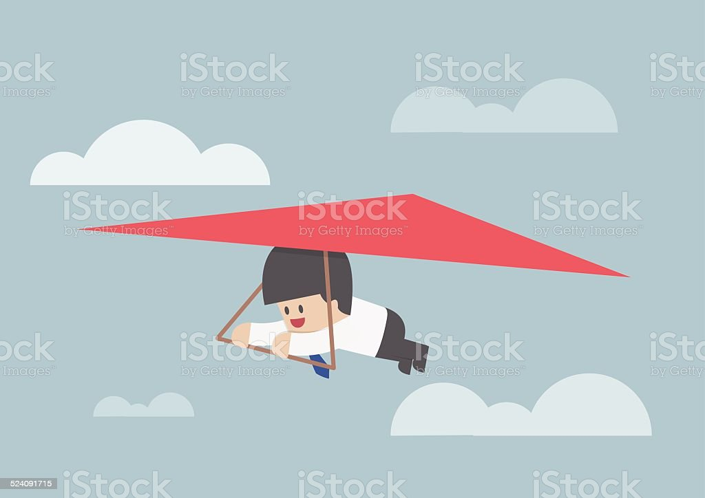Businessman riding a hang glider vector art illustration