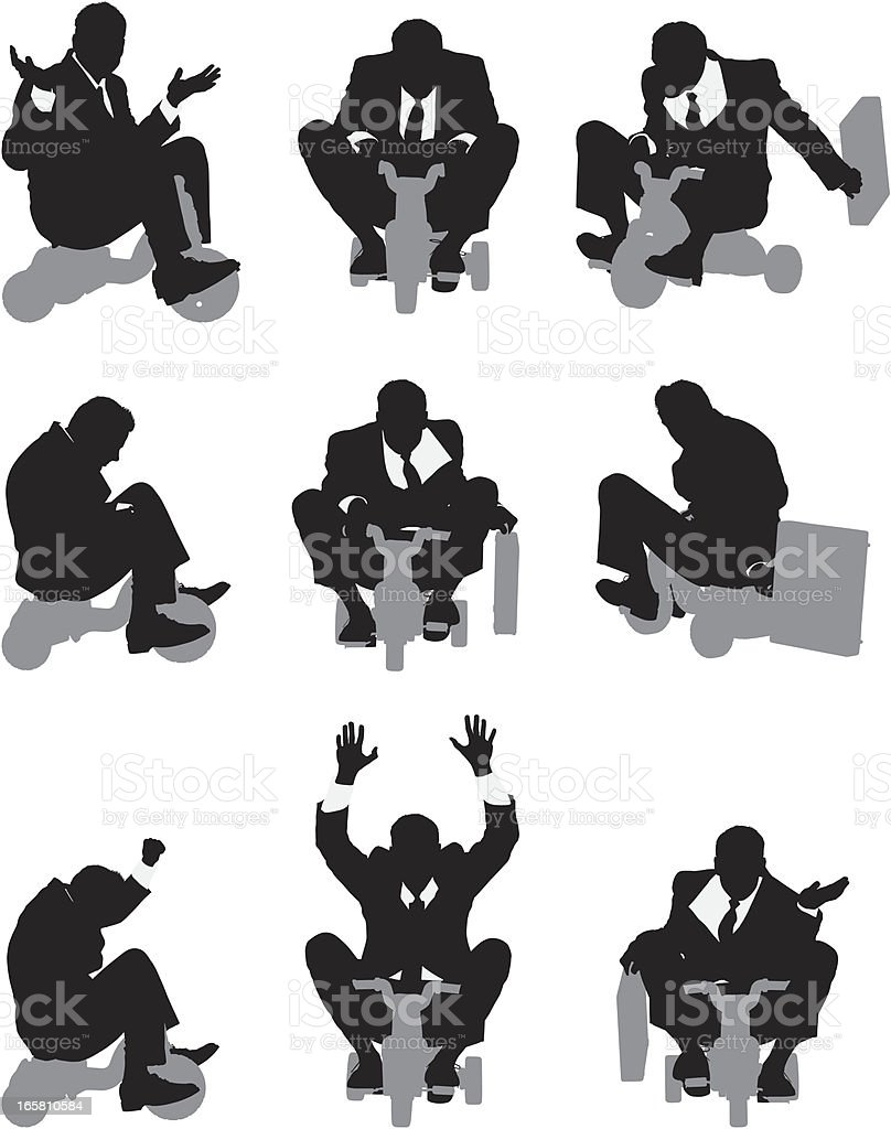 Businessman riding a tricycle royalty-free stock vector art
