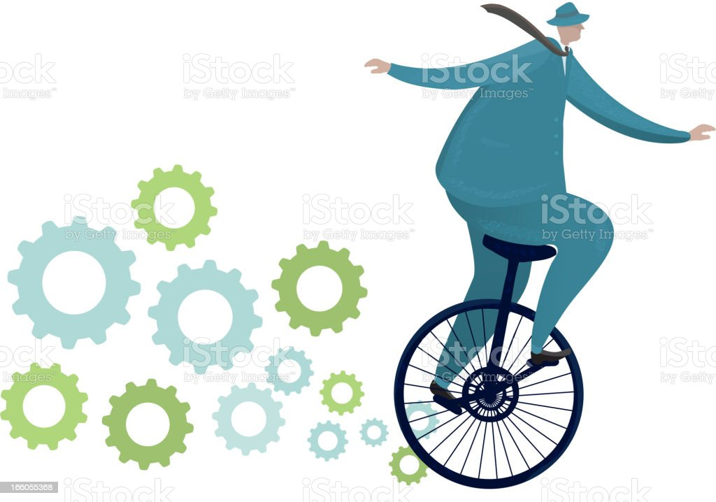 Businessman riding a unicycle with gears vector art illustration