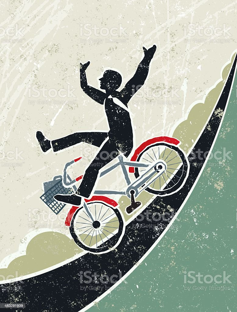 Businessman Riding Bicycle Down a Steep Hill royalty-free stock vector art