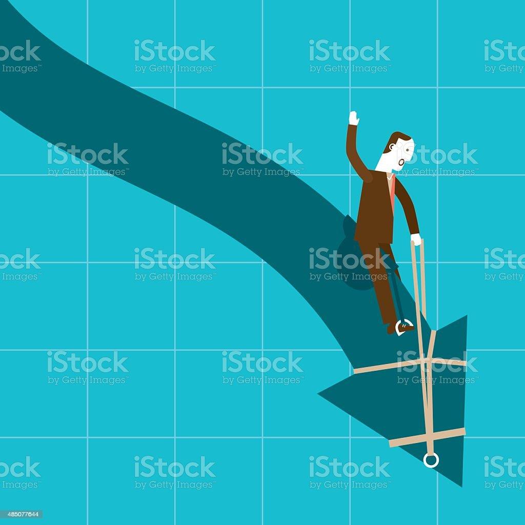 Businessman Riding Downtrend (Arrow)   New Biz vector art illustration