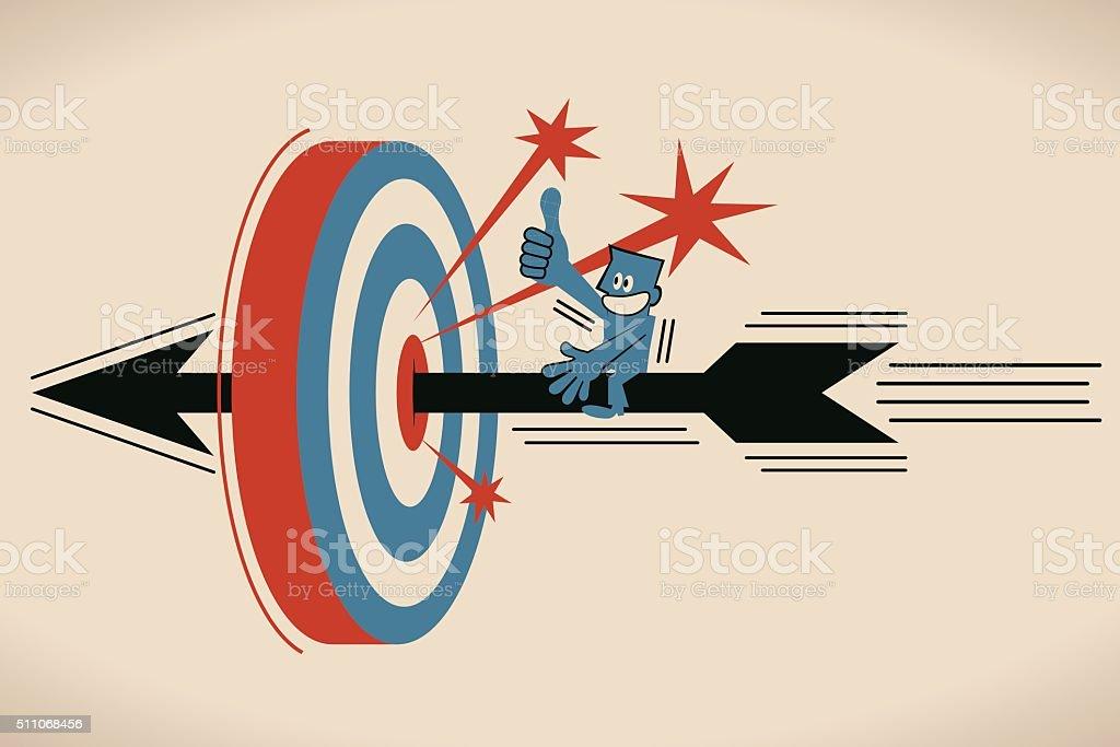 Businessman riding flying archery, shooting on Bull's-Eye of archery target vector art illustration