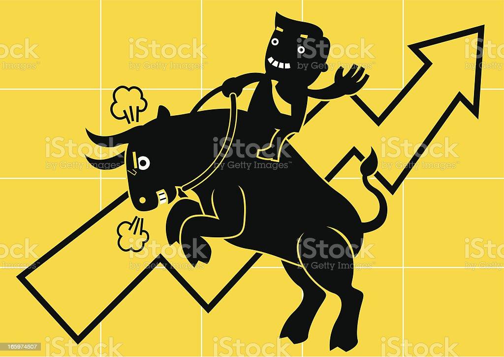 Businessman Riding on a Cow (Bull Market) vector art illustration