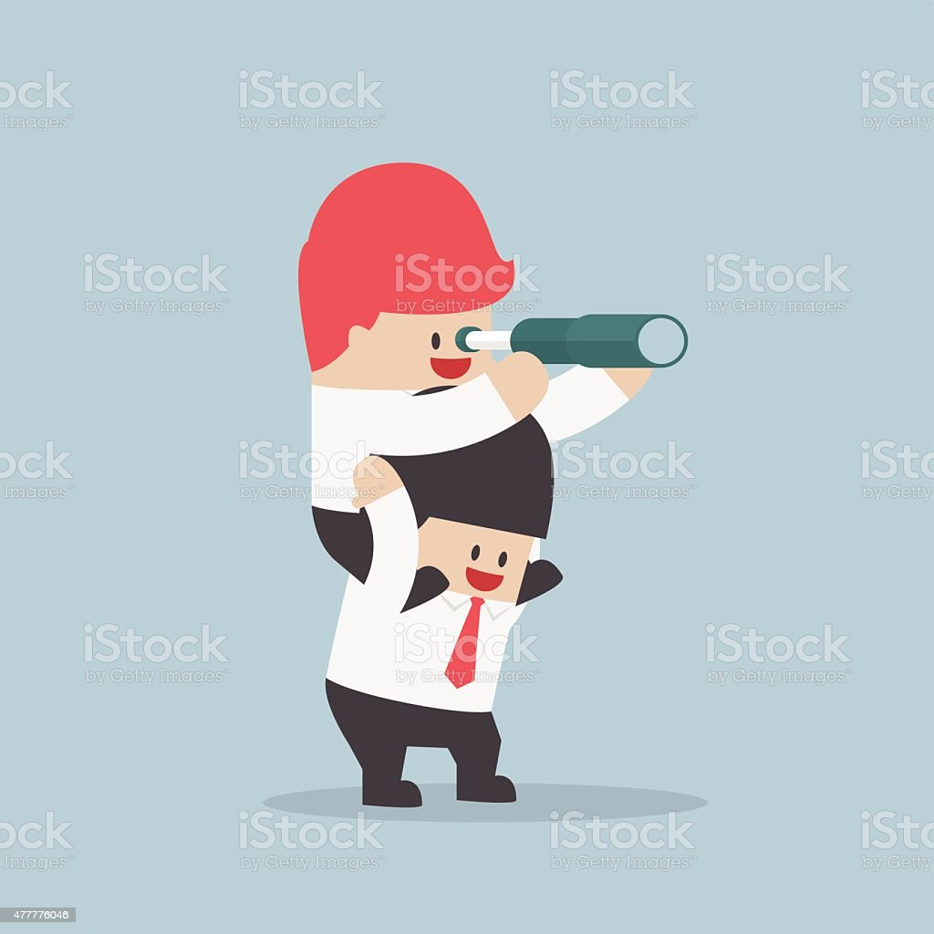 Businessman riding on his friend's shoulder and looking through spyglass vector art illustration