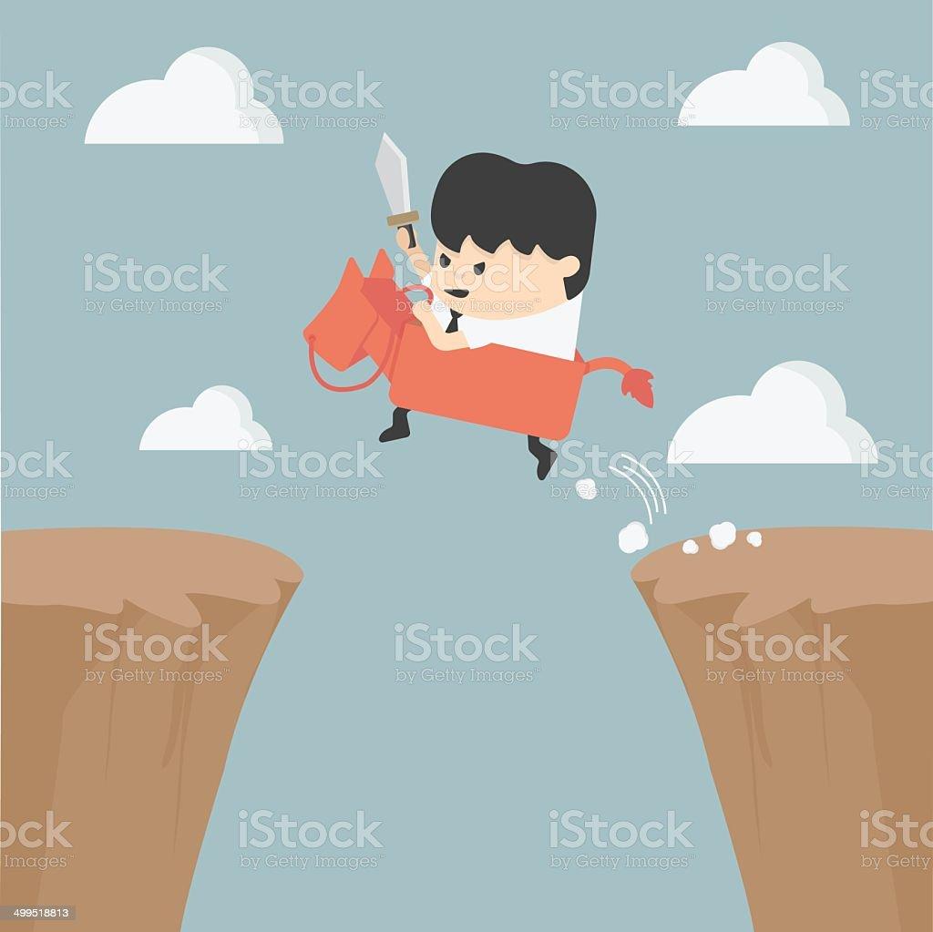 Businessman riding over obstacles. vector art illustration