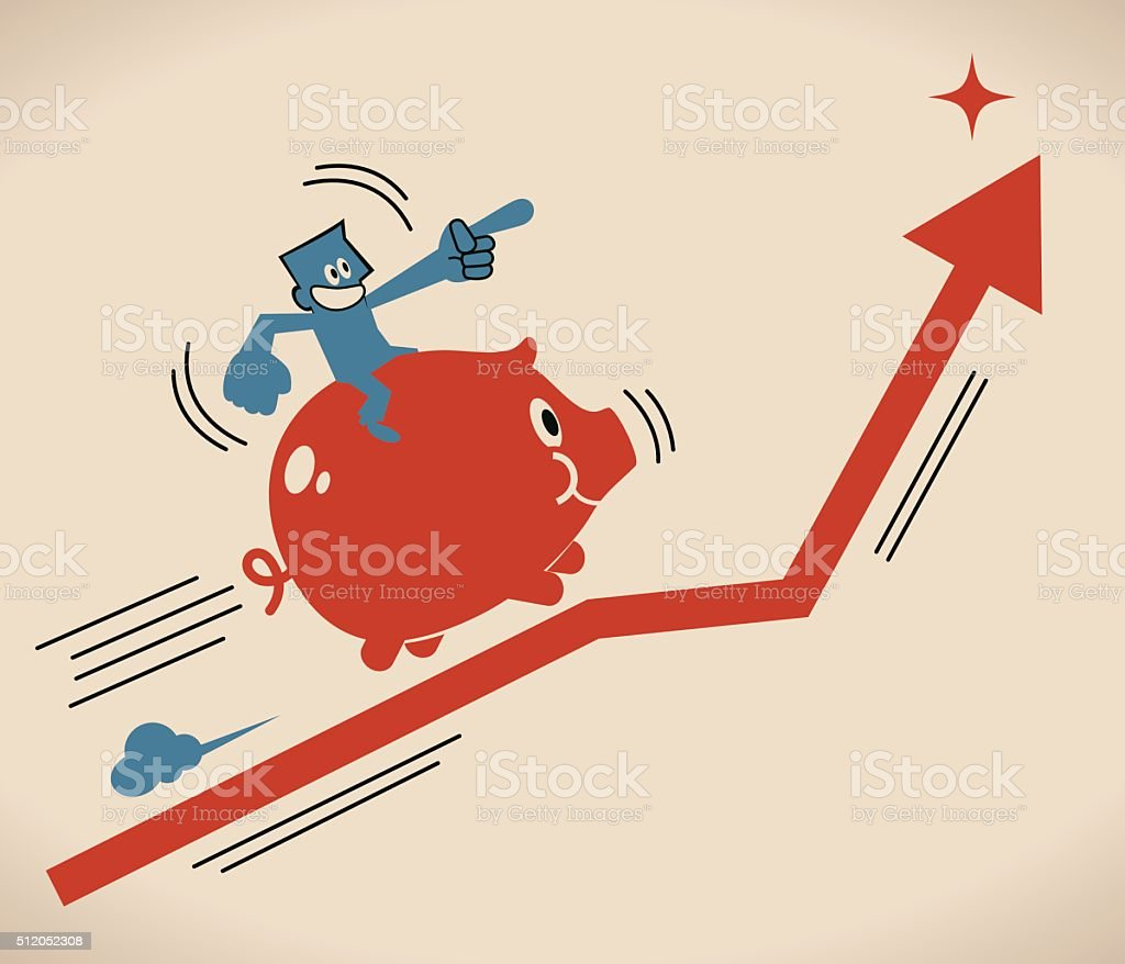 Businessman riding Piggy Bank on an uprising arrow vector art illustration