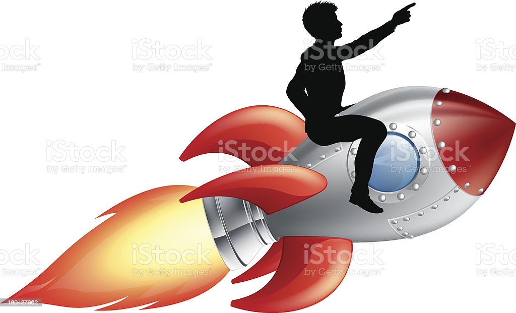 Businessman riding rocket ship royalty-free stock vector art