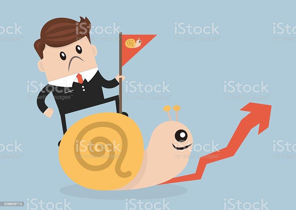 Businessman riding Snail slowly walk on arrow growth vector art illustration