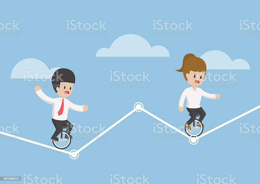 Businessman riding unicycle and trying to balance on a graph vector art illustration