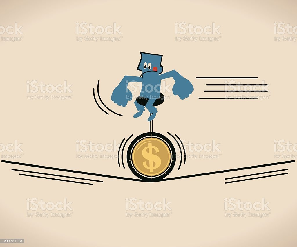 Businessman riding unicycle with Dollar sign tire on a rope vector art illustration