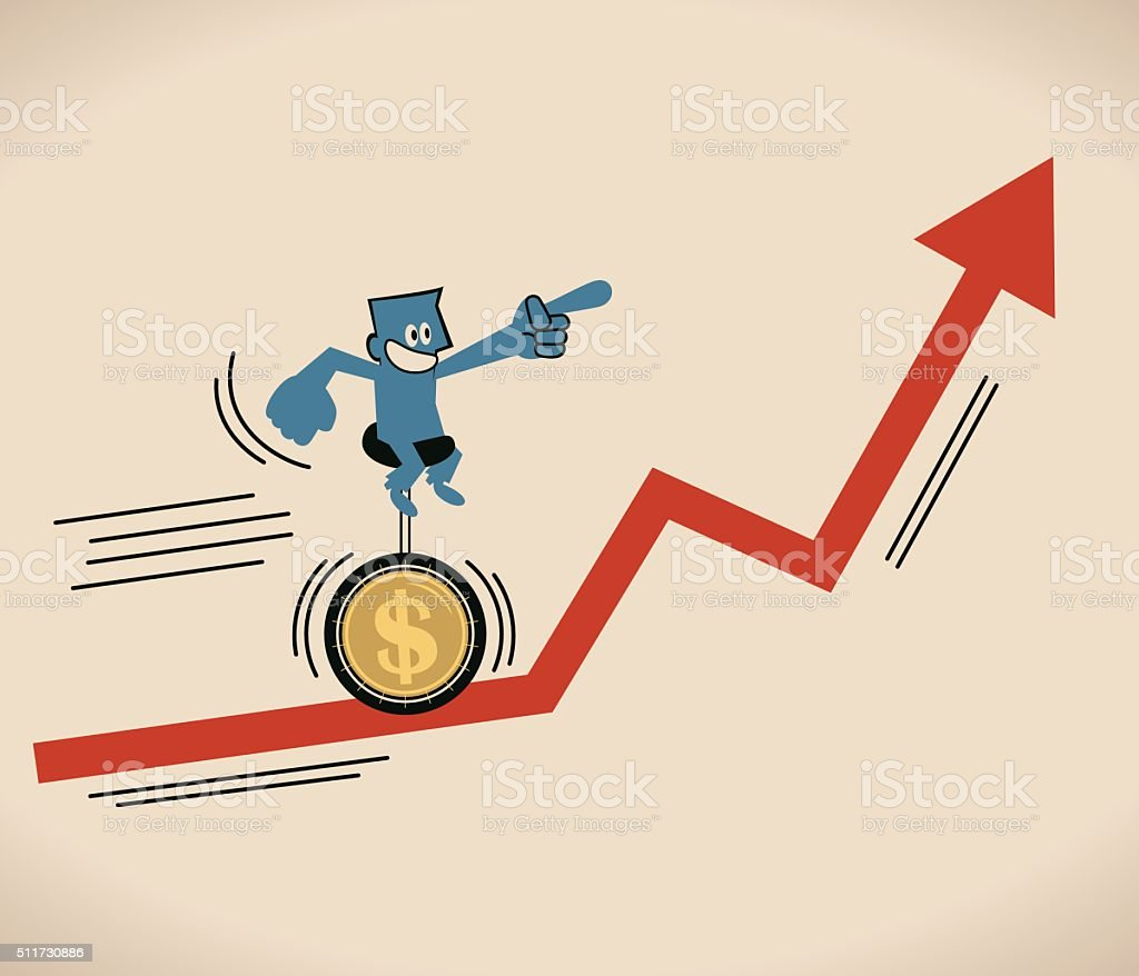 Businessman riding unicycle with Dollar tire on uprising red arrow vector art illustration