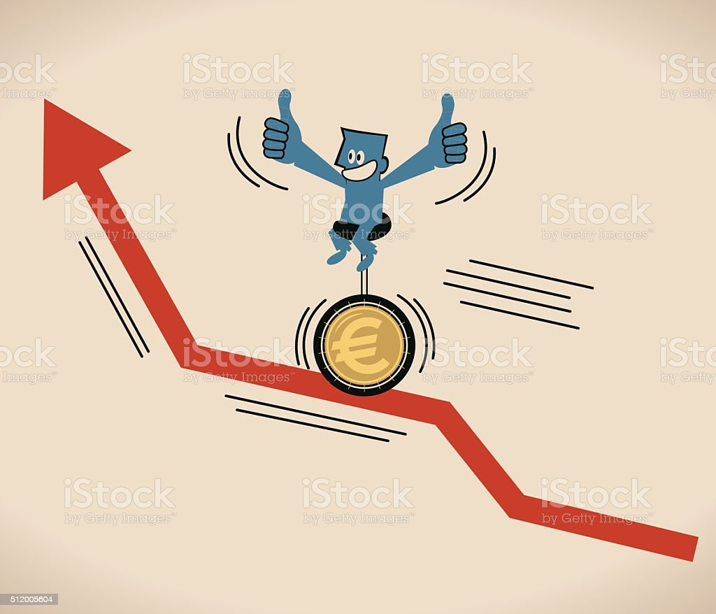 Businessman riding unicycle with Euro sign tire on uprising arrow vector art illustration