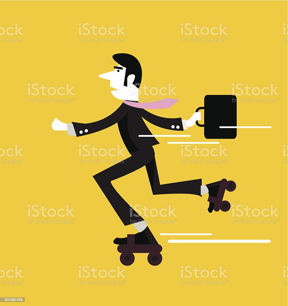 Businessman roller skating with briefcase. royalty-free stock vector art