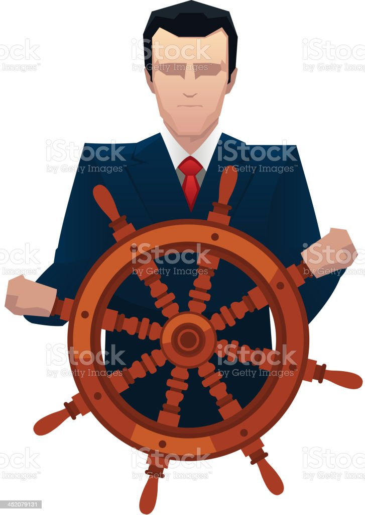Businessman rudder helm tiller royalty-free stock vector art