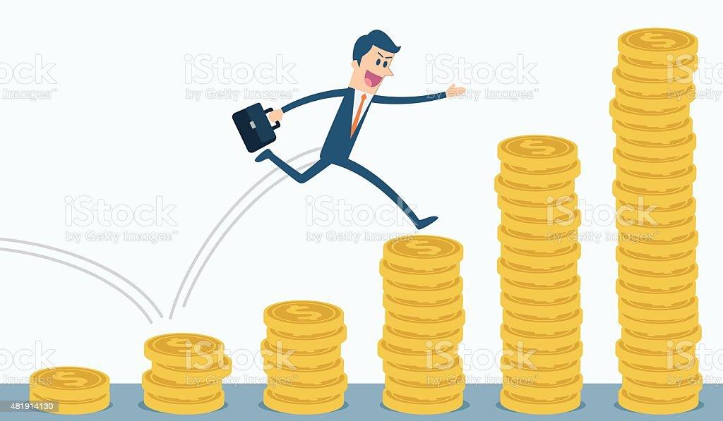 Businessman run and jump on money stairs vector art illustration