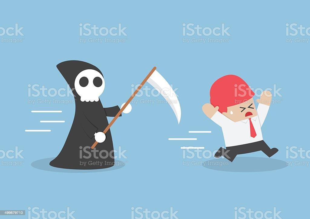 Businessman run away from angel of death vector art illustration