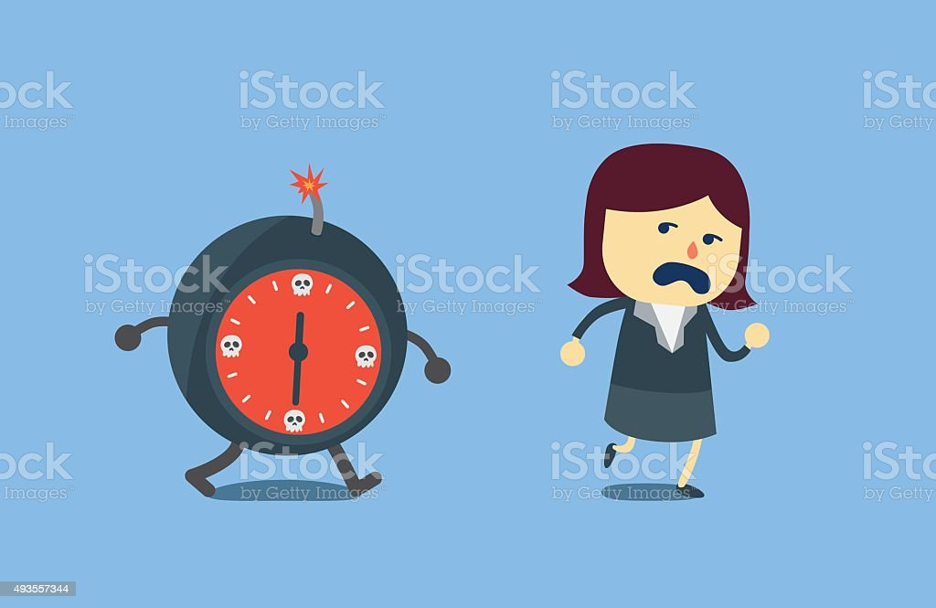 Businessman run away from bomb time vector art illustration