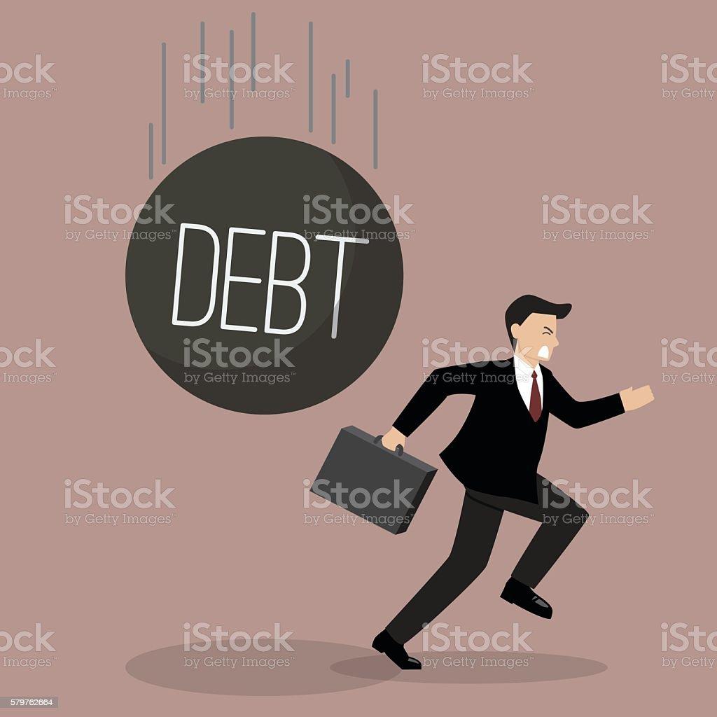 Businessman run away from heavy debt vector art illustration