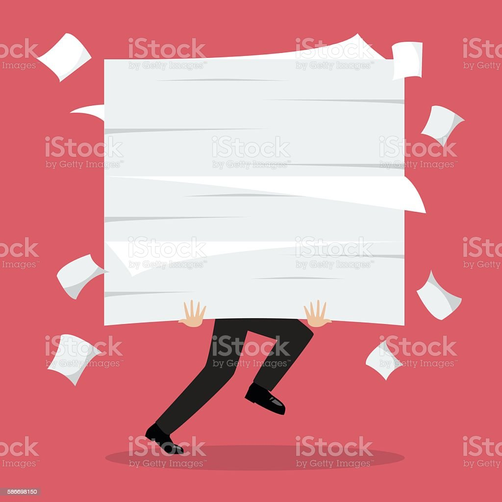 Businessman run holding a lot of documents vector art illustration